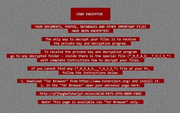 랜섬 명령이 있는 CRBR 암호기 데스크톱 배경 화면
