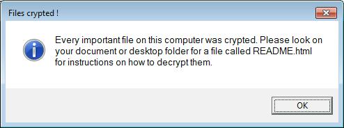 Erebus는 데이터 암호화 후에 이 팝업 경고를 표시합니다