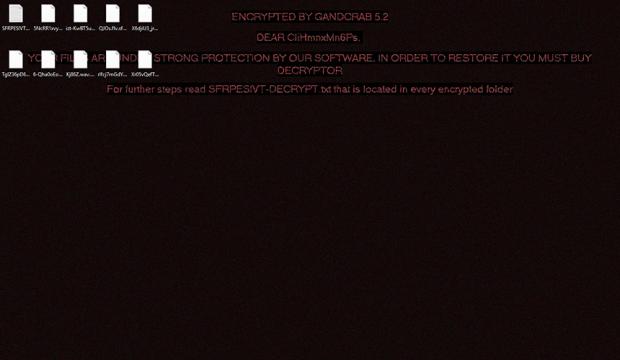 이전 버전과 마찬가지로, GandCrab 5.2는 경고와 함께 으스스한 바탕화면을 표시합니다