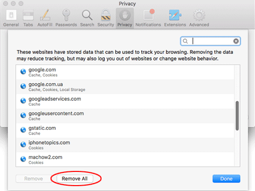 Mac Safari remove website data