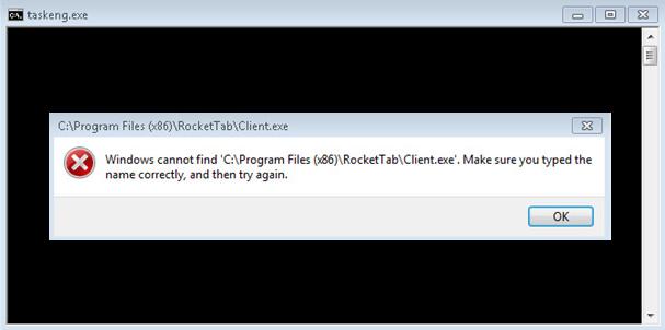 오류 다이얼로그가 표시된 Taskeng.exe 팝업창